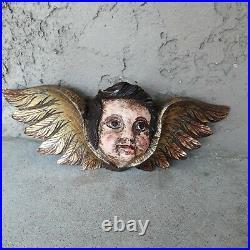 Vintage Angel Cherub Head Wings Wooden Hand Carved Sculpture Made in Spain