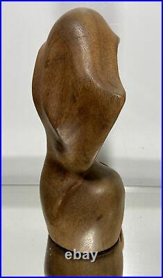 Vintage Antique Art Deco Carved Wood Female Head Sculpture Signed