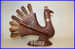 Vintage Antique Carved Wood Turkey Carving Knife & Fork Set Handcrafted Cutlery