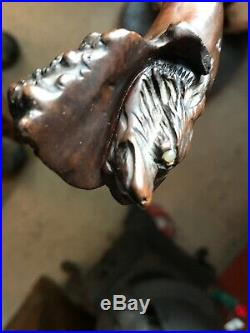 Vintage Antique Handle Walking Stick Cane 34 With Animal Head Carving Fox