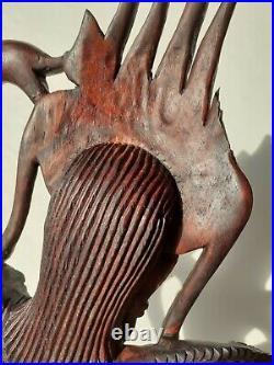 Vintage Apsara Danser Goddess Wood carving Figure Anghor Wat, Cambodia Asia