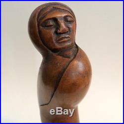 Vintage Arias Wood Carving Figure Sculpture Woman Mexican Folk Art Carved