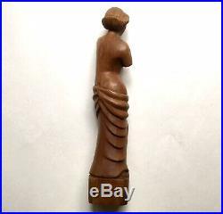 Vintage Art Deco Carved Wood Venus de Milo Statuette Sculpture, 1940s Folk Art