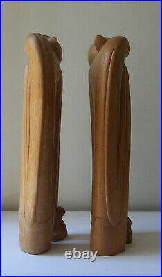 Vintage Art Deco Style Pair Carved Wood Sculpture Women Hand Stunning