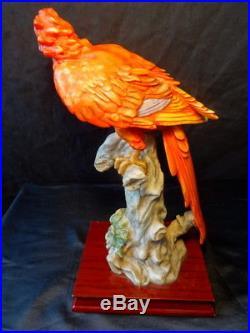Vintage Art Nouveau Style Sculpture Tropical Parrot Perched Plinth Centre Piece