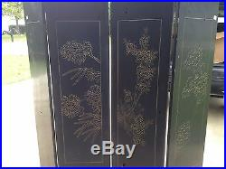 Vintage Asian 4 Panel Black lacquered Coromandel Screen carved and painted #3
