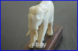 Vintage Asian India Carved Elephant Art Figural Bovine Bone Beautiful