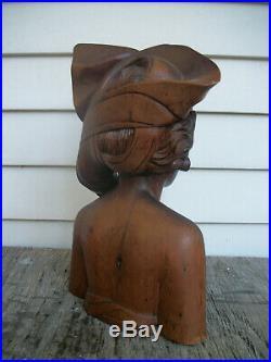 Vintage Bali Hand Carved Hard Wood Female Nude Bust Sculpture. 12.75 H