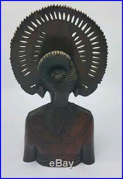 Vintage Bali Sculpture Art Hand Carved Wood Figurine Bust Signed Klungkung Bali