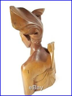 Vintage Bali Wood Carved Bust Sculptures Man Woman Wedding Indonesia Statues