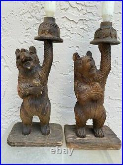 Vintage Black Forest Pair Of Carved Wood Bear Sculptures Candlesticks