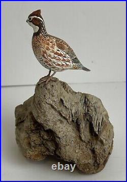 Vintage Bob-White Quail Miniature Bird Carving Signed by Helen Lay Strong 1977