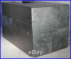 Vintage Brutalist Sculpture Hewn Cedar Block Black Wood End table 1960s CHUNK