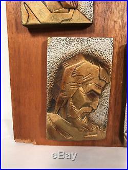 Vintage Brutalist Wall art Sculpture MCM Deco Jesus Apostles Spain Gold & wood