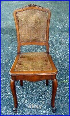 Vintage CANED Accent Vanity CHAIR Louis XVl style Cabriole Legs Walnut Carving