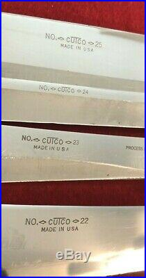 Vintage CUTCO, Carving Knife with Brown Wooden Handle Chef Set, 22-28, Lot of 7
