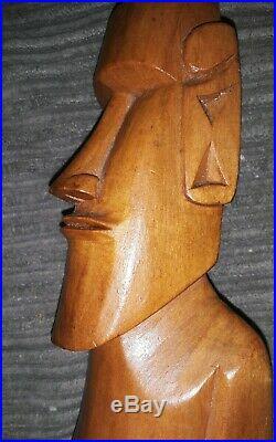 Vintage Carved Native Wood Easter Island Moai Figure Carving Rapa Nui 9.5