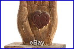 Vintage Carved Wood Folk Art Sculpture Odd Fellows Heart in Hand Paint Decorated