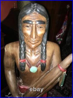 Vintage Carved Wood Imdian Statue Cigar Store