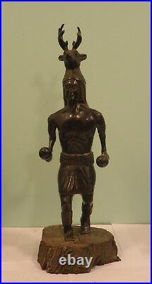 Vintage Carved Wood Indian Statue Sculpture Ceremonial Dancer Ironwood 21 Tall