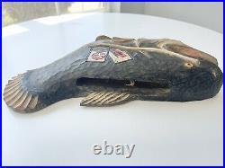 Vintage Carved Wood Sculpture Fish Japanese Artist Signed