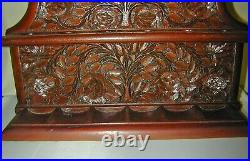 Vintage Carved Wood Tobacco Pipe Stand Rack Holder Beautiful Intricate Carving