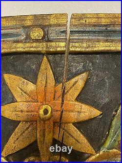 Vintage Carved Wood Wall Sculpture Shingle Panel Plaque Painted Floral 37.5