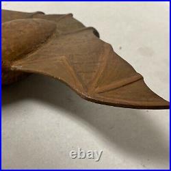 Vintage Carved Wood Winged Bat Folk Art Sculpture Signed