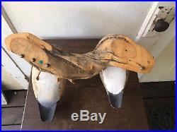 Vintage Carved Wooden Wood Duck Drake & Hen Sculpture Decoy Mount on Driftwood