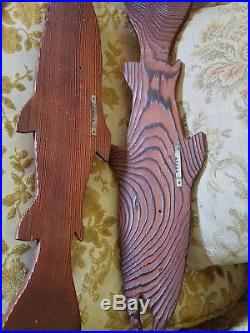 Vintage Chainsaw Carved Wood 18 Salmon Fish Wall Decor