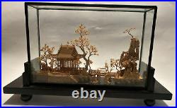 Vintage Chinese Asian Carved Cork 3D Scene Sculpture Glass Diorama Brown Frame
