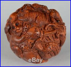 Vintage Chinese Carved Wood Zodiac Animal Ball Signed
