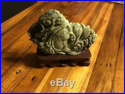 Vintage Chinese Jade Carving Of A Fish With Wood Pedestal Asian Artwork Statue Old