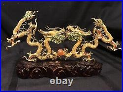 Vintage Chinese Ornate Enamel 2 Dragon Art Sculpture On Wood Base