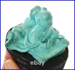 Vintage Chinese Turquoise Carved Carving Boy Figure Figurine Wood Stand AS IS