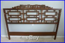 Vintage Chippendale Queen Headboard Solid Wood Fretwork Asian Carving Ming MCM