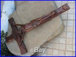 Vintage Christ On The Cross Sacred Art Wood Carving Handmade Religious Statues