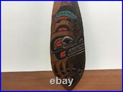 Vintage Coast Salish Wood Carving Salmon Paddle Bear Monty Charlie Penelakut