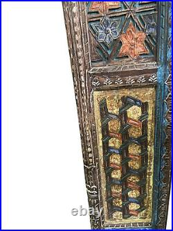 Vintage Colorful Indian Arch Floral Carving HAVELI Reclaimed Wood Frame Archway