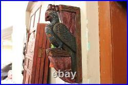Vintage Corbel Pair Peacock Statue Wooden Wall Bracket Home Decor Bird Sculpture