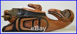 Vintage Cormorant Lidded Dish Inspired By Traditional Northwest Coast Carvings