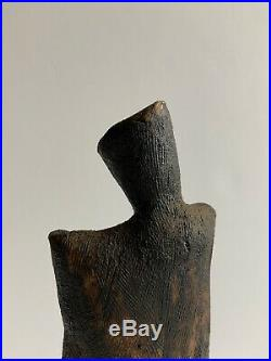 Vintage Cubist Clay Sculpture Figure Abstract Brutalist Wood Mount Signed Tonino