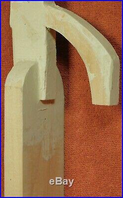 Vintage Cubist Wood Plaster Outsider Sculpture Portrait Bust HEAD Brutalist Male