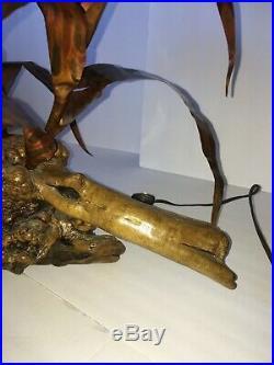 Vintage Curtis Jere Urchin Wood Metal Art Lamp Light Wall Sculpture Mid Century