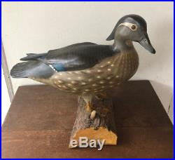 Vintage DUCKS UNLIMITED Carved Wood Duck Drake DUCK DECOY Sculpture on Log