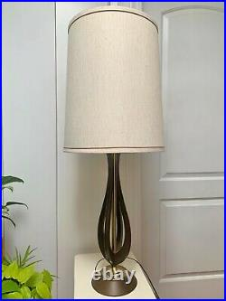 Vintage Danish Mid Century Modern Sculptural Teak/Walnut Wood Brass Table Lamp