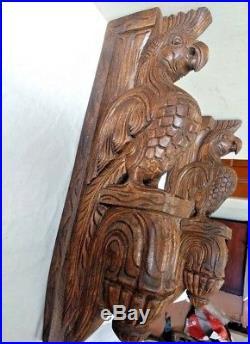 Vintage Eagle Wooden Wall Corbel Bracket Pair Bird Sculpture Home Decor Set of 2