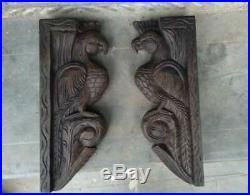 Vintage Eagle Wooden Wall Corbel Bracket Pair Bird Sculpture Set of 2