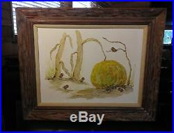 Vintage Evelyn Wallace Oil Painting 3D Sculptures Of Birds And Pumkin 31 X 35