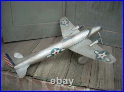 Vintage Folk Art Carved Wood Air Plane WW11 Era Plane Americana 21 AAFA